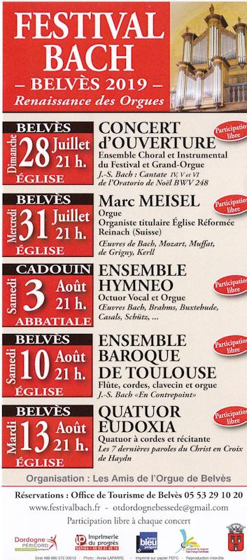 Affiche Festival Bach 2019