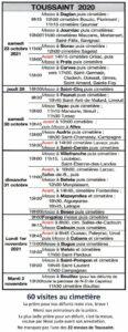 Agenda des célébration de la Toussaint